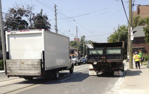 Truck traffic outside an East End development.  PHOTO: Martin Gladstone