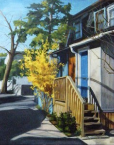 Bright Street by Rita Anne Piquet, on display as part of Cobalt Gallery's holiday festival.