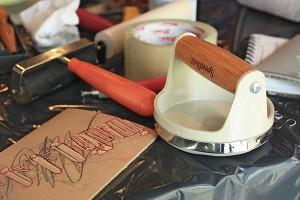 Printmaking materials at inPrint collective's pop-up printmaking studio. PHOTO: Kaila Simoneau