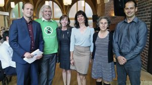 Beaches-East York MP Nathaniel Erskine Smith, Beaches-East York MPP Arthur Potts, Ward 32 Councillor Mary-Margaret McMahon, environmental consultant Martina Rowley, Julia Langer, CEO of the Toronto Atmospheric Fund, and Toby Heaps, CEO of Corporate Knights, at the Climate Change Town Hall September 14.